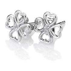 Hot Diamonds Stříbrné čtyřlístkové náušnice s diamanty Lucky in Love DE632