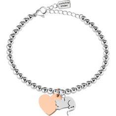 La Petite Story Bicolor oceľový náramok Mačka a Srdce LPS05AQI07