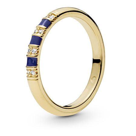 Pandora Pozłacany pierścionek z kryształkami i niebieskie paski 168052 CZ (obwód 52 mm) srebro 925/1000