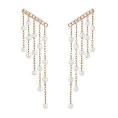 Liu Jo Růžově zlacené ocelové náušnice s perličkami a krystaly LJ1481