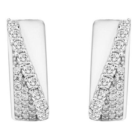 JVD Stílusos ezüst fülbevaló csillogó cirkónium kövekkel SVLE0668XH2BI00