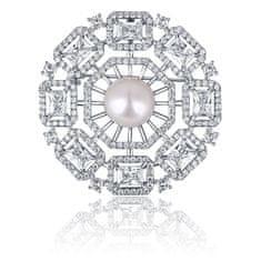 JwL Luxury Pearls Luxusná dámska brošňa s perlou 2v1 JL0665
