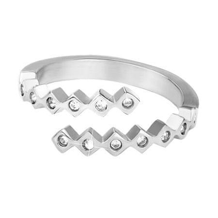 Troli Divatos acél gyűrű cirkónium kövekkel (Kerület 58 mm)