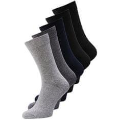 Jack&Jones 5 PACK - pánské ponožky JACJENS 12113085 Dark Grey Melange
