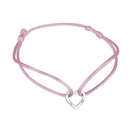 Praqia Zsinór rózsaszín kabala karkötő Szív KA6180