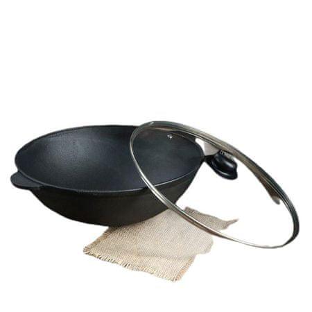 Kraftika Vas pan wok üveg fedéllel, 300 x 100 mm, tm