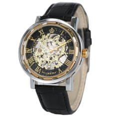 Daklos Luxusní hodinky automatické ORKINA s průhledným ciferníkem a římskými číslicemi - černý řemínek