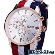 Daklos Luxusní hodinky MEGIR v bílo bronzovém provedení s nylonovým páskem