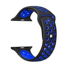 4wrist Silikonový řemínek pro Apple Watch - Černá/Modrá 38/40 mm