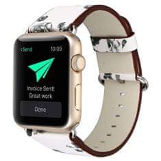 4wrist Kožený řemínek pro Apple Watch s motivem květin - bílo-černý 38/40 mm