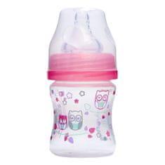 BabyOno Láhev na krmení, antikolička, široká ústa, 120 ml, růžová