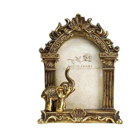 """Kraftika Képkeret polystone 10x15 cm """"indiai elefánt"""" idős arany 21,"""