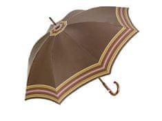 RSQ1912 Border luxusné pánsky holový dáždnik s drevenou rukoväťou Farba: Hnedá, Vzor: P4 Buk
