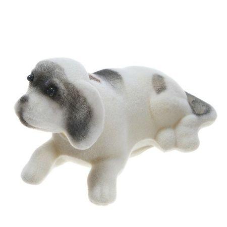 Kraftika Pies na panelu samochodowego, kręci głową, mała, kolor biały