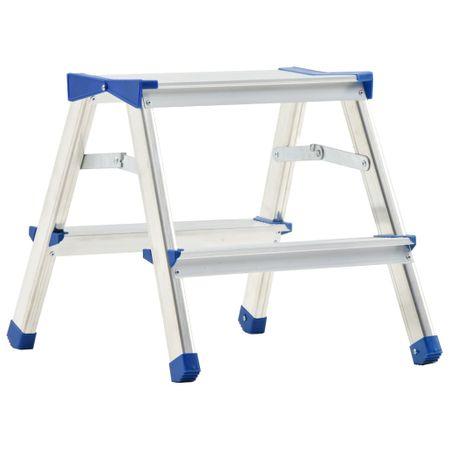 shumee Aluminijasta dvostranska lestev s stopnicami 2 stopnici 44 cm