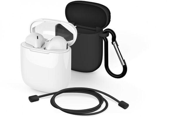 Moderne Bluetooth slušalke meliconi mysound safe pods 5.1 odličen zvok pasivna izolacija od okoljskih hrupov apple ios handsfree klici silikonski ovitek polnilna škatla vponka pašček za okoli vratu