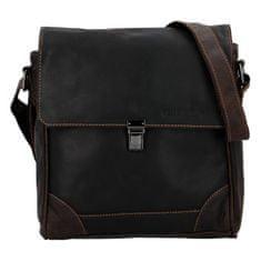 Green Wood Kožená taška na rameno s klopou na zámeček Marcel Green Wood, tmavě hnědá