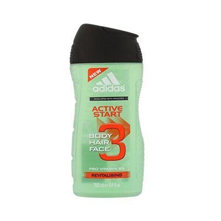 Adidas Hair & Body Active Start tusfördő és samponférfiaknak 3 az 1-ben (Shower Gel, Shampoo, Face Wash) (Mennyiség 250 ml)