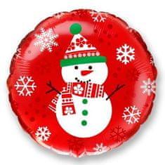 Balónik fóliový 45 cm snehuliaka - Vianoce