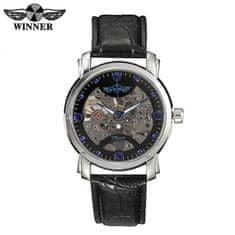 Daklos Luxusní černé hodinky WINNER s průhledným strojkem s modrými detaily - automatické