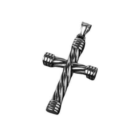 """Kraftika Wisiorek """"krzyż"""" stalowy, splot, kolor czarny srebrny"""