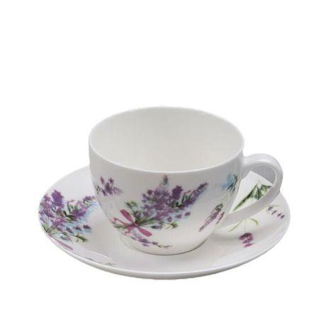 Kraftika Levendula tea pár, csésze 280 ml, csészealj 15 cm