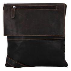 Green Wood Jednoduchá kožená taška s dlouhým popruhem Banard Green Wood, tmavě hnědá