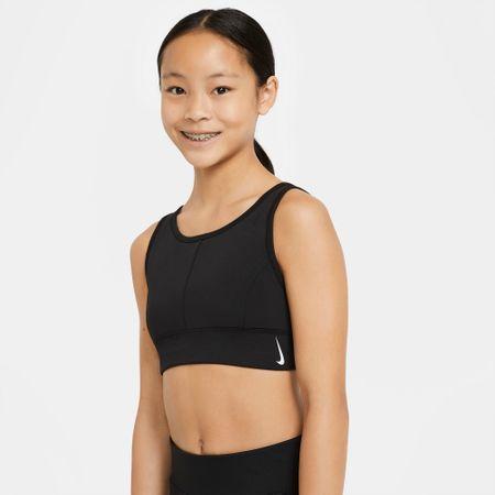 Nike grudnjak za djevojčice Swoosh CZ4150-010, M, crni