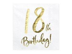 Paris Dekorace UBROUSKY 18. narozeniny bílé se zlatým nápisem