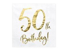 Paris Dekorace UBROUSKY 50. narozeniny bílé se zlatým nápisem