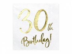 Paris Dekorace UBROUSKY 30. narozeniny bílé se zlatým nápisem