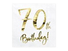 Paris Dekorace UBROUSKY 70. narozeniny bílé se zlatým nápisem
