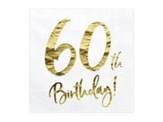 Paris Dekorace UBROUSKY 60. narozeniny bílé se zlatým nápisem