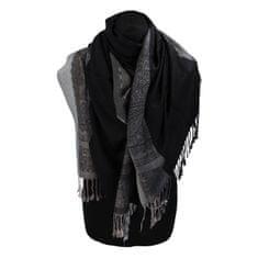 Cashmere Kašmírová šála pruhovaná s ornamentom India, čierna