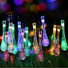 Bezdoteku LEDSolar 20 vianočné solárne reťaz kvapky multicolor, IPRO, 2W, farebné