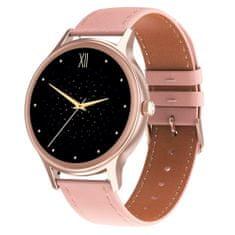 NEOGO DayFit D6, dámske smart hodinky, ružové/kožené
