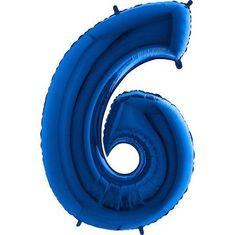 Fóliový balónek číslice 6 - modrý - blue - 115cm