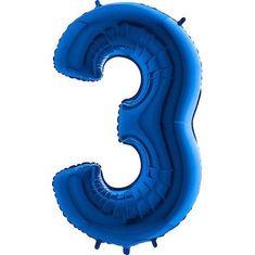 Fóliový balónik číslica 3 - modrý - blue - 115cm