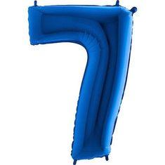 Fóliový balónek číslice 7 - modrý - blue - 115cm