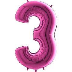 Fóliový balónek číslice 3 - růžová - pink - 115cm