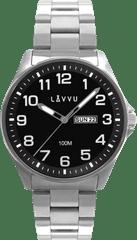 LAVVU Ocelové pánské hodinky LAVVU BERGEN Black se svítícími čísly