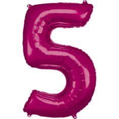 Amscan Balónik fóliový narodeninové číslo 5 ružový 86 cm