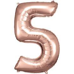 Amscan Balónik fóliový narodeninové číslo 5 ružovo-zlatý 86 cm