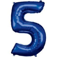 Amscan Balónik fóliový narodeninové číslo 5 modrý 86 cm