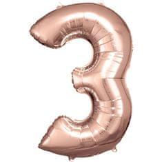 Amscan Balónik fóliový narodeninové číslo 3 ružovo-zlatý 86 cm