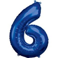 Amscan Balónik fóliový narodeninové číslo 6 modrý 86 cm