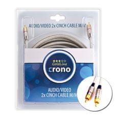 Crono Crono kabel propojovací Cinch / Cinch - stereo, 2x Cinch (samec) / 2x Cinch (samec), vysoká kvalita, 3m
