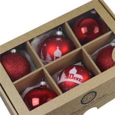 Decor By Glassor Set vánočních ozdob červený