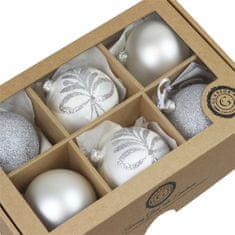 Decor By Glassor Set stříbrných a bílých vánočních ozdob