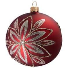 Decor By Glassor Vánoční koule červená platinový květ (Velikost: 8)